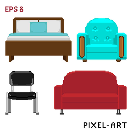 piece of furniture: A set of furniture elements in the style of pixel art.