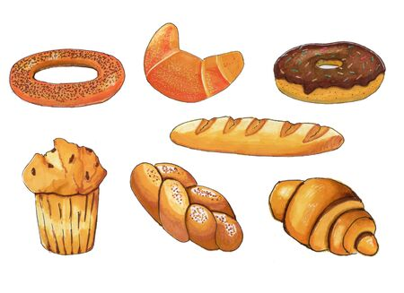 Set of bakery products, hand made elements, marker style. Grocery baking, bread and muffins.