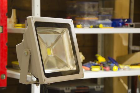 spotlight: led spotlight in wooden workshop