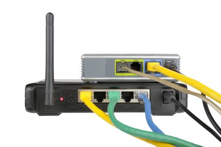 Wireless router and internet phone adapter Stock Photo