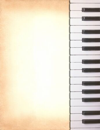 piano keys on old paper