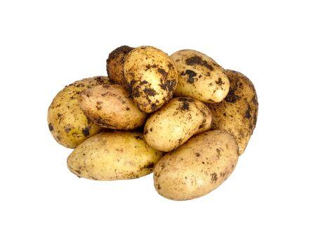 unwashed potato on a white