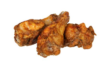 Grilled chicken wings isolated on white background photo