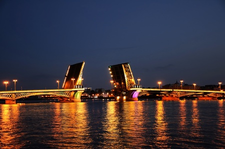 bascule bridge across the Neva in St. Petersburg, Russia