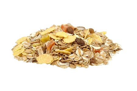 pile of muesli isolated on a white background