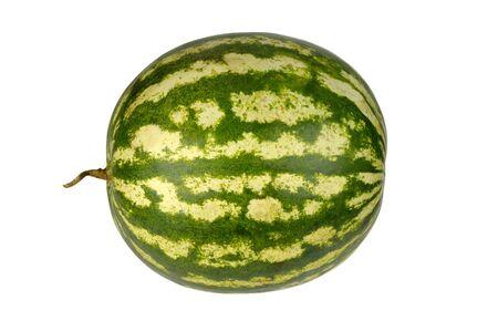 Round ripe watermelon isolated on white background Stock Photo