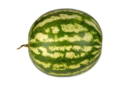 Round ripe watermelon isolated on white background Stock Photo