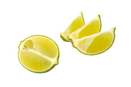 sliced lime isolated on a white background