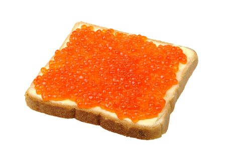 large sandwich with butter and fish roe photo