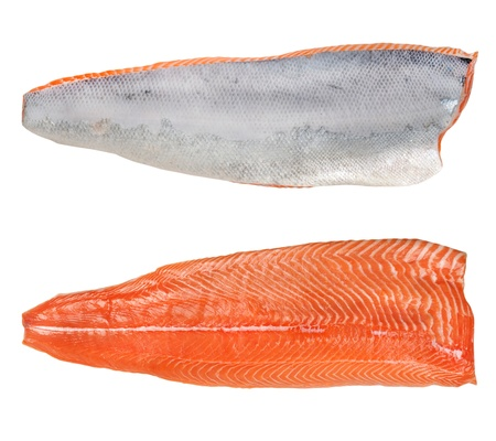 the split salmon for sushi isolated on white background Stock Photo - 11242238