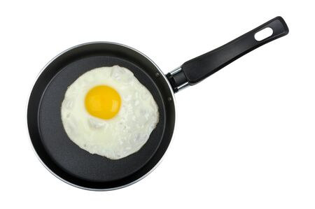 fried egg in a frying pan isolated on white background photo