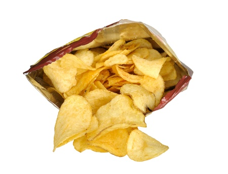 crisps: potato chips in the package isolated on white background Stock Photo