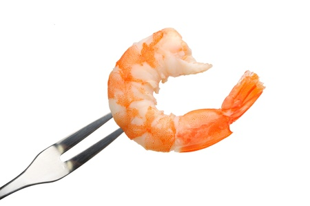 peeled shrimp on a fork  isolated on a white background