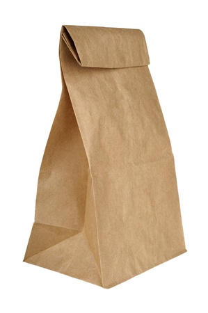 brown paper bag lunch isolated on white background