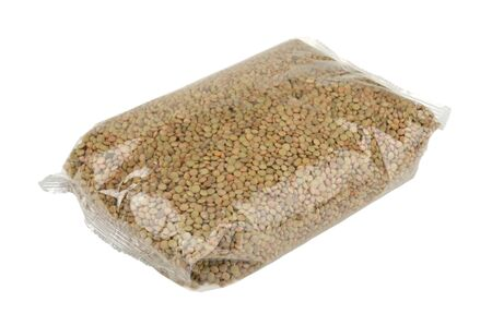 lentils in a package isolated on white background
