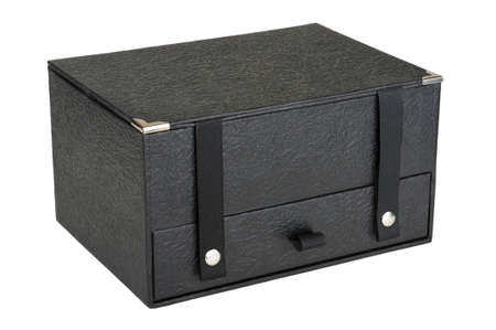 black closed box isolated on white background