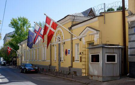 Königliche Botschaft von Dänemark in Moskau. Russland, Moskau, 30. August 2019 Editorial