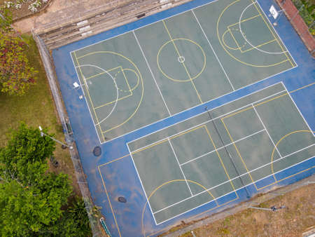 High angle view of basketball court seen from drone 版權商用圖片