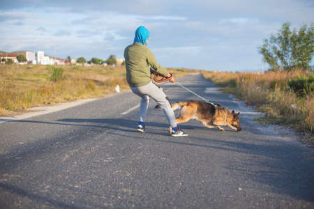 Young man being pulled by his german shepherd dog