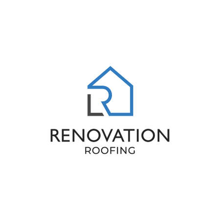 Modern and sophisticated roof renovation company logo Ilustracja