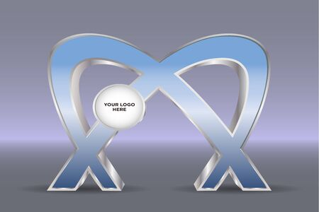 3d vector editable gate entrance abstract style with blank space for logo company