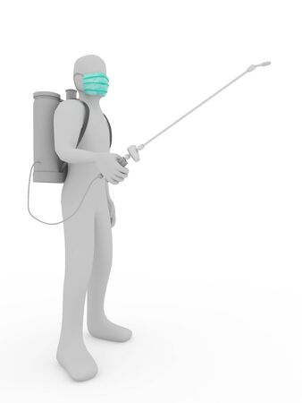 3d illustration stickman character with portable disinfectant spray and face mask for healthcare against virus corona covid-19.