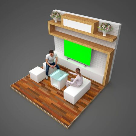 d illustration stand booth 3x3 m home style with backdrop hanging rack and LED tv green screen. Banco de Imagens - 145561229