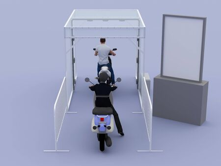 3d illustration disinfection chambers motorbike for clean people from virus corona with blank banner information.