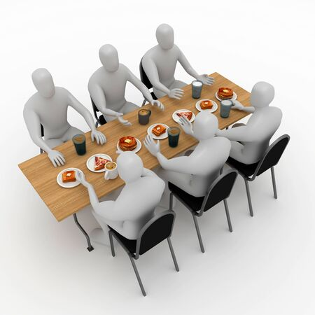 3d illustration stickman character doing eat and talking together at the table for reunion.