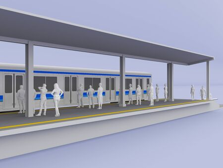 3d illustration commuter line train station with people preview background isolated.