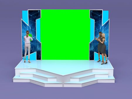 3d illustration launching procession with card mockup in portable display connect to LED green screen, High resolution image isolated.