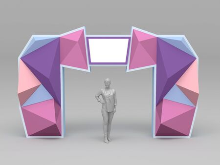 3d illustration gate entrance backdrop wing abstract decoration style with blank space logo company for event exhibition. High resolution image isolated.