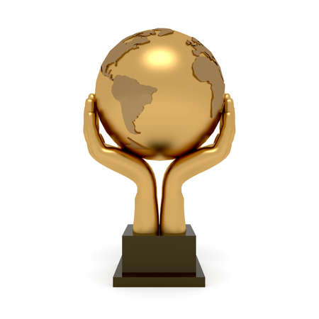 3d illustration trophy hand globe earth style with base blank space for title. High resolution white background isolated.