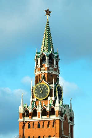 spassky: spassky tower at sunset against the blue sky Stock Photo