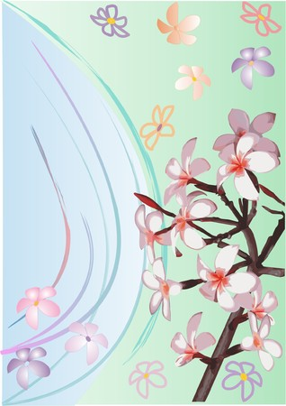 appletree: White flowers on a branch. An ornament in pastel tones. Illustration