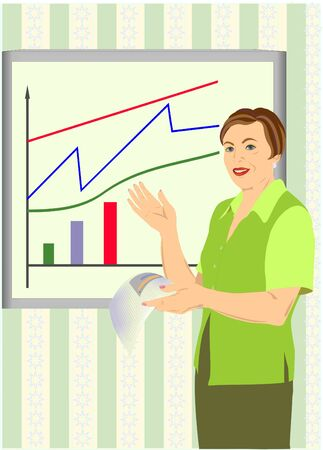 pictogramme: The business woman acts with the report, in hands it holds a sheet of paper. Illustration