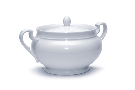 White bowl for soup on a white background Stock Photo