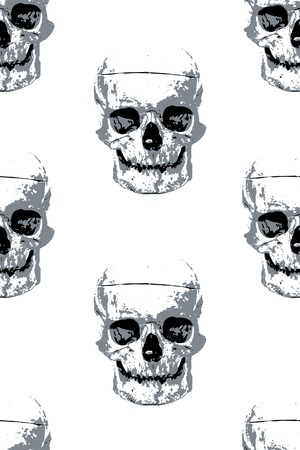 Cloth pattern with gray human skull images