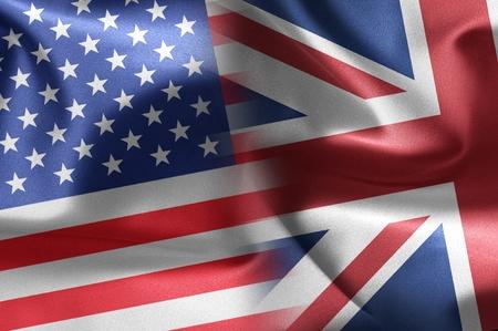 bandiera inghilterra: Usa un bandiere del Regno Unito Archivio Fotografico