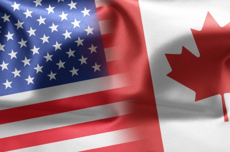 Flags of the United States and the Canada photo