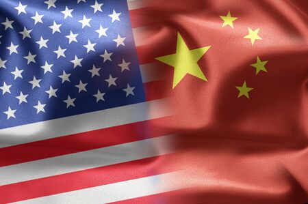 china: Flags of the United States and the China. Stock Photo