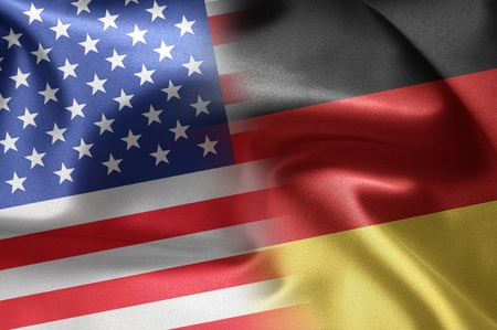 Flags of the United States and the Germany. Stock Photo