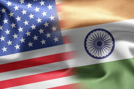 Flags of the United States and the India.
