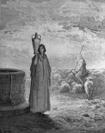 jacob: Jacob at the well  1  Le Sainte Bible  Traduction nouvelle selon la Vulgate par Mm  J -J  Bourasse et P  Janvier  Tours  Alfred Mame et Fils  2  1866 3  France 4  Gustave Dor�