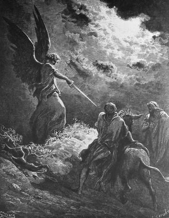 Balaam and his donkey  1  Le Sainte Bible  Traduction nouvelle selon la Vulgate par Mm  J -J  Bourasse et P  Janvier  Tours  Alfred Mame et Fils  2  1866 3  France 4  Gustave Dor�