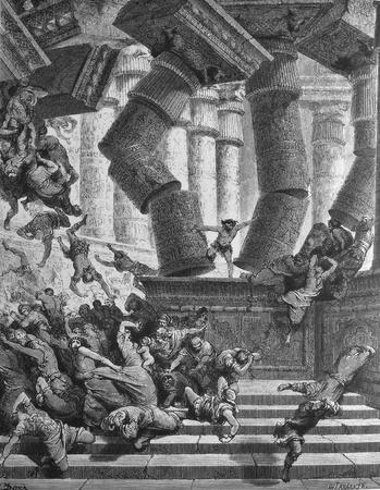 bible shepherd: The death of Samson  1  Le Sainte Bible  Traduction nouvelle selon la Vulgate par Mm  J -J  Bourasse et P  Janvier  Tours  Alfred Mame et Fils  2  1866 3  France 4  Gustave Doré