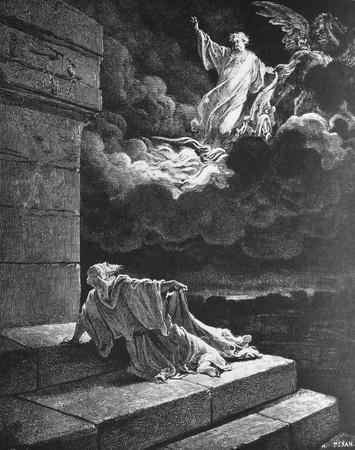 The Ascension of Elijah  1  Le Sainte Bible  Traduction nouvelle selon la Vulgate par Mm  J -J  Bourasse et P  Janvier  Tours  Alfred Mame et Fils  2  1866 3  France 4  Gustave Doré Stock Photo - 12994083