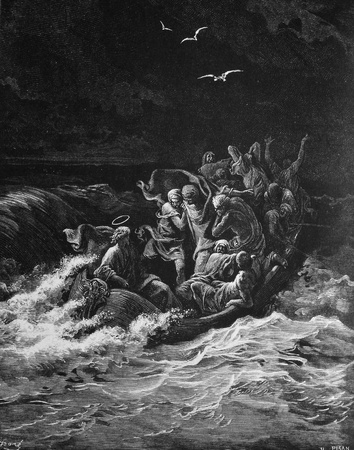Taming the storm  1  Le Sainte Bible  Traduction nouvelle selon la Vulgate par Mm  J -J  Bourasse et P  Janvier  Tours  Alfred Mame et Fils  2  1866 3  France 4  Gustave Dor� Stock Photo - 12994062