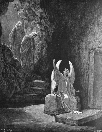 resurrection of jesus: The angel at the tomb of the Lord  1  Le Sainte Bible  Traduction nouvelle selon la Vulgate par Mm  J -J  Bourasse et P  Janvier  Tours  Alfred Mame et Fils  2  1866 3  France 4  Gustave Doré