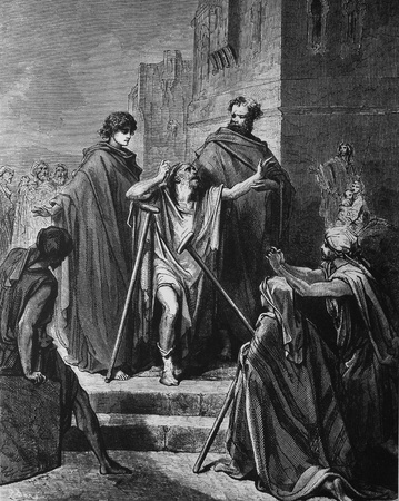 Healing of the lame  1  Le Sainte Bible  Traduction nouvelle selon la Vulgate par Mm  J -J  Bourasse et P  Janvier  Tours  Alfred Mame et Fils  2  1866 3  France 4  Gustave Doré Stock Photo - 12994140